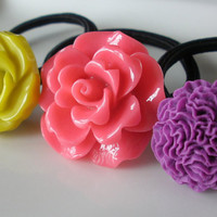 Unique Chartreuse Melon Purple Yellow flower hair band hair accessories set of 3 ponytail holders elastics lot pink