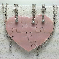 Heart Shaped Puzzle Necklaces Set of 5 Interlocking Necklaces Baby Pink Pearl with Swarovski Pearls Polymer Clay Set 205