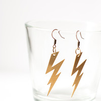 Zig zag lightning bolt earrings - raw brass, gold colored earrings.