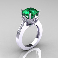 Classic 10K White Gold 3.0 Carat Emerald Diamond Solitaire Wedding Ring R301-10KWGDEM
