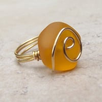 Orange Sea Glass Ring:  24K Gold Wire Wrapped Tangerine Tango Beach Jewelry, Size 7