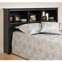 Prepac Sonoma Black Queen Storage Headboard