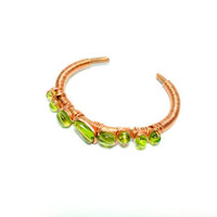 green beaded copper wire wrap braceletspring by theflowerdesign