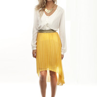 Moutard Asymmetric Skirt By Aryn K. | Shop Accordion Pleat Skirt At MessesOfDresses.com