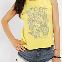 Urban Outfitters - Corner Shop Tropical Meow Muscle Tee