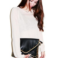 Black Leather Clutch with Stud &amp; Chain Detail