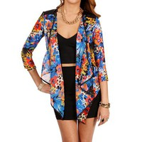 Blue/Orange Floral Faux Leather Trim Jacket