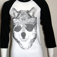 WOLF in Sunglasses 3/4 sleeve TShirt by UnknownArtistApparel