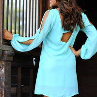 RESTOCK Jewel Be Mesmerized Dress: Light Teal | Hope's