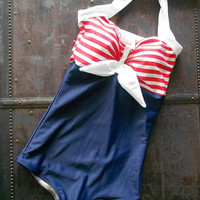 $79.00 Pin Up Sailor Retro One piece swimsuit Made to Order by TheRedDolly
