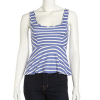 Striped Peplum Tank, Blue/White