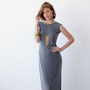 Sleeveless , Backless , Maxi Dress , Gray Evening dress