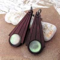 Deco Dangle Earrings - Purple Heart Moon Glow Green - Rustic Antiqued Silver