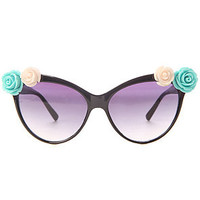 Untitled &amp; Co Sunglasses Dita in Blue and White Ceramic Flowers and Black