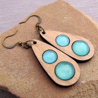 Seafoam and Wood Dangle Earrings - Wood Acrylic Antiqued Brass - Modern Minimalist Retro