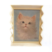 Vintage 1960s Framed Cat Print Art