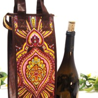 Insulated Wine Bottle Tote  - Reusable Gift Bag  - Summer Brites