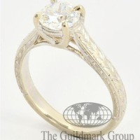 Excellent 14K White Gold Vintage Cathedral Style Diamond Engagement Ring 6.25US