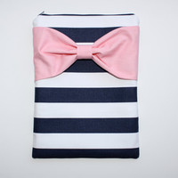 MacBook Pro / Air Case, Laptop Sleeve - Navy and White Stripes with Medium Pink Bow - Double Padded