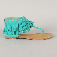 Liliana Aurora-33 Studded Fringe Thong Flat Sandal