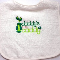 Baby Infant Toddler Bib Adjustable Golf Daddys Little Caddy Embroidery