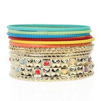 multi color bangles set with twisted metal - 1000046710 - debshops.com