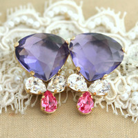 Rhinestone earrings Purple white and pink statement chandelier - 14k Gold plated whit real Swarovski Crystals