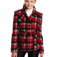 Southpole Juniors Belted Plaid Trench Coat