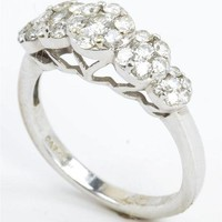 Excellent 14K White Gold Diamond Ring with 5 Diamond Clusters 6.0 US