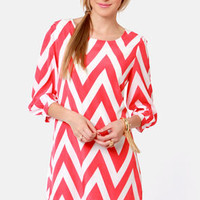 Pack Your Zigzags Coral Pink Chevron Print Dress