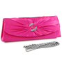 Dasein Women&#x27;s Satin Clutch Evening Purse Bag w/ Rhinestone Ring Accented Flap