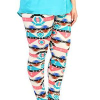 plus size color tribal print ponte knit leggings - 1000049174 - debshops.com