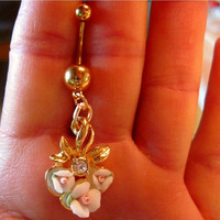Navel Belly Button Ring Gold Tone Barbell Upcycled Avon Flowers OOAK