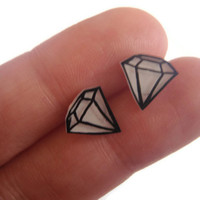 Diamond Earrings  Plastic Diamond Style Studs  by SmallGreyCat