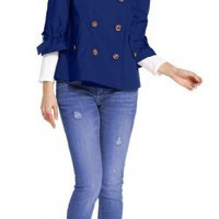 Tommy Girl Cotton Three-Quarter-Sleeve Double Breasted Navy Jacket - Sizes XS - XL