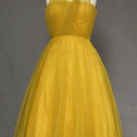 Mustard Tulle 1950's Halter Dress VINTAGEOUS VINTAGE CLOTHING