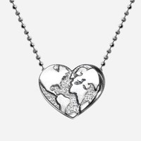 Alex Woo &#x27;Little Activist&#x27; Heart Globe Pendant Necklace | Nordstrom