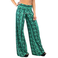 Tree Hugger Green Emerald Tribal Palazzo Pants