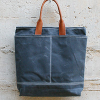 Waxed Cotton Toyko Bag in Grey