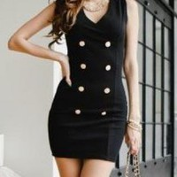 SEXY ALL BLACK MILITARY STYLE BUTTON DRESS