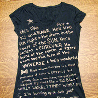 Doctor Who Tshirt (Fandom) Quote Bleached, Custom Made