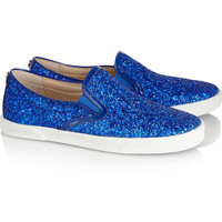 Jimmy Choo|Glitter-finished leather sneakers|NET-A-PORTER.COM