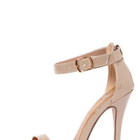My Delicious Chacha Dark Beige Patent Single Strap High Heels