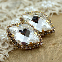 Crystal clear stud Petite vintage style earring,bridal jewelry - 14k plated gold post earrings real swarovski rhinestones .