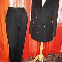 AUGUSTUS SUIT Classy Jacket With Pants  BLACK Wool Lined S10/12 MADE IN USA
