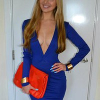 Royal Blue Deep V Plunge Neck BodyCon Dress from RMW