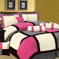 7 PC MODERN Black Hot Pink White Gray Suede COMFORTER SET / BED IN A BAG - KING SIZE BEDDING