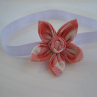 Baby Girl Pink Gingham Flower Headband - Pink, Satin Elastic Headband - Toddler, Girl