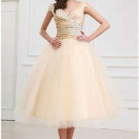 Elaborate A-line Cap Straps V-Neck Applique Champagne Summer Wedding Dress