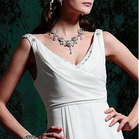[159.99] Elegant Chiffon A-line V Neckline Wedding Dress For Your Beach Wedding - Dressilyme.com